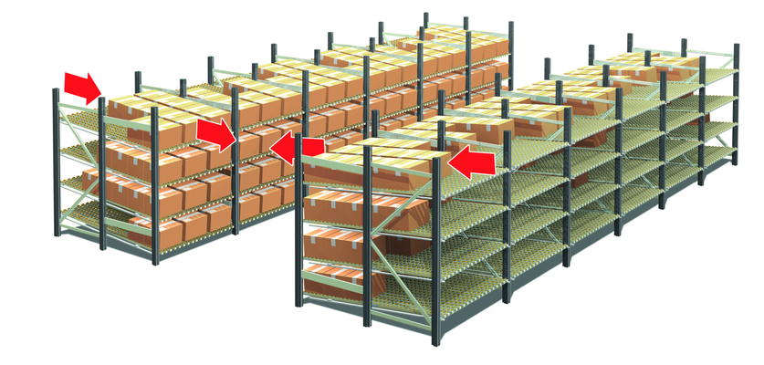 Light gravity-fed racking